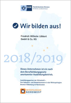 IHK Ausbildungszertifikat Lübbert Fisch 2019