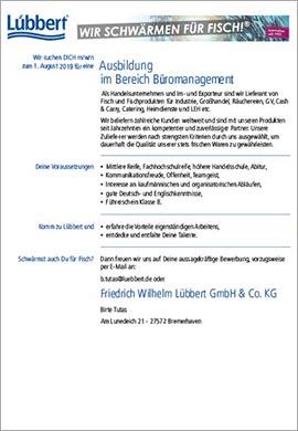 Vorschaubild Anzeige Lübbert Ausbildung Büromanagement