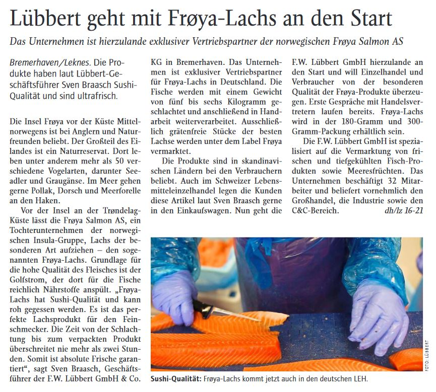 Screenshoot Artikel Lübbert in der Lebenmittelzeitung 2021