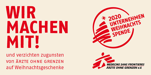 Banner Unternehmen Weihnachtsspende Ärzte ohne Grenzen e.V.